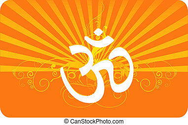 Om in decorated yellow - Illustration of Om in decorated...