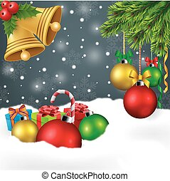 Christmas ornament background - Vector Illustration Of...