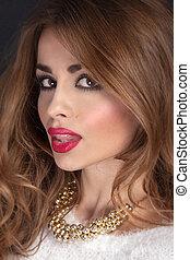 Pretty brunette woman - Beauty portrait of woman with long...