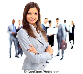 Young smiling business woman in the foreground