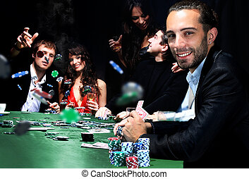 young people are playing poker