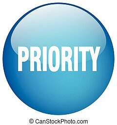 priority blue round gel isolated push button
