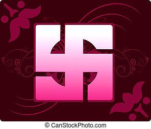 Swastika - Illustration of Swastika symbol in floral...
