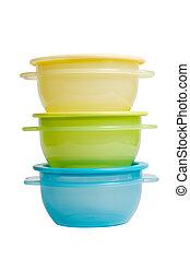 plástico, alimento, contenedores, como, tupperware