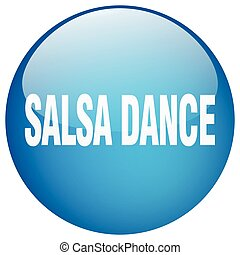 salsa dance blue round gel isolated push button