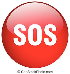 sos red round gel isolated push button