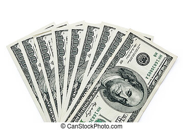 US paper currency with clipping path