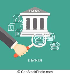 e-banking - Flat design modern vector illustration concept...