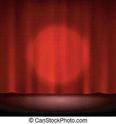 Spotlight on stage red curtain