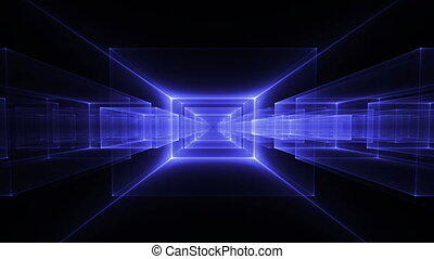 Blue Geometrical Horizon - Dynamic blue translucent cubes...