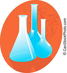 laboratory bottles in - Three laboratory bottles in red...