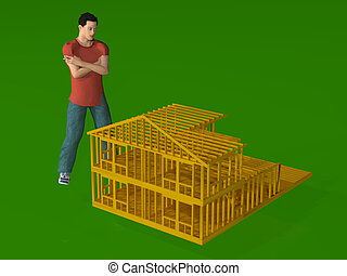 man with doll house - a rendering of a man standing over the...
