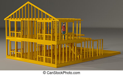 man standing in a house frame - a rendering of man standing...