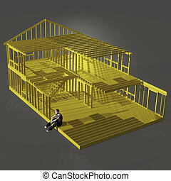 man in a house frame - a rendering of a man sitting on an...