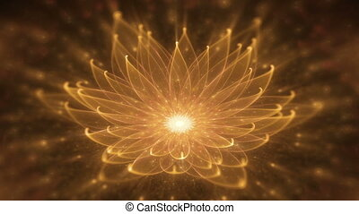 Radiant Orange Lotus - Orange lotus with rays of light,...