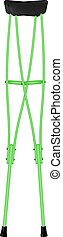 Retro crutches in green design on white background