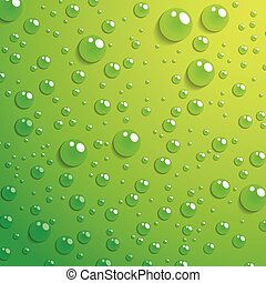 Water drop on green background - Vector Illustration Of...