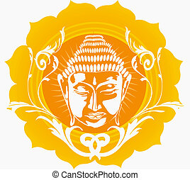 Buddha in floral background - Illustration of face of Buddha...