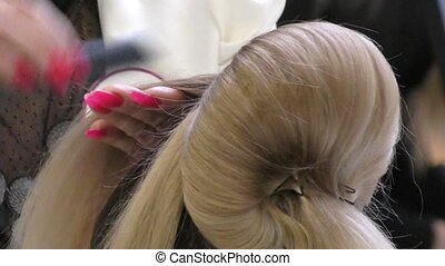 Hairdresser makes woman hairstyle - Hairdresser at the...