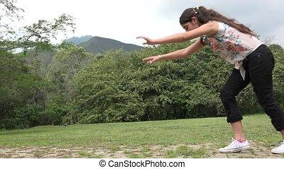 Teenage Girl Outdoor Acrobatics