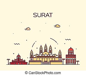 Surat skyline vector illustration linear style - Surat...
