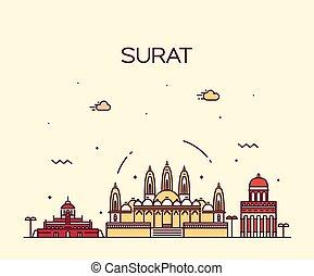 Surat skyline vector illustration linear style - Surat...