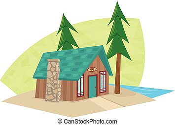 Small Cabin - Cartoon icon of a small cabin with a lake view...