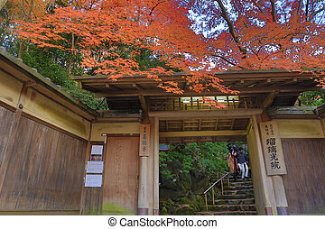 main door of Rurikoin at fall season - a main door of...
