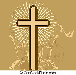 cross in floral background - Illustration of a cross in...