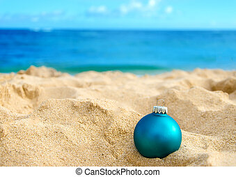 Tropical beach Christmas and New Year background - Merry...