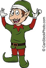 christmass elf cute cartoon posing