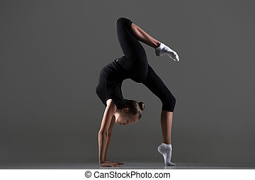 Girl doing bridge exercise - Beautiful cool young fit...