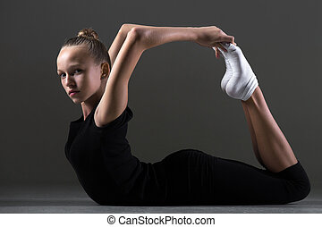 Girl doing backward extension exercise - Beautiful cool...