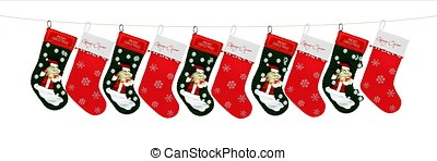 10 Christmas socks in line - Red and green beautiful...