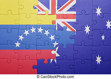 puzzle with the national flag of venezuela and australia....