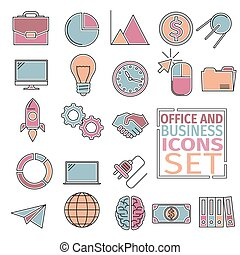 office and bussines icons four colors - Colored icons with...