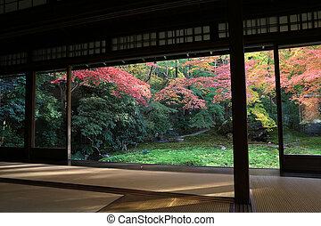 zen garden at Rurikoin, all viewed through a window.