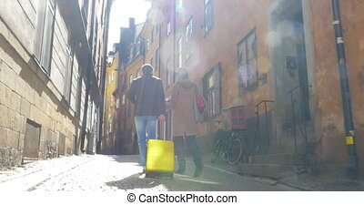 Touristic walk in Old Town of Stockholm - Steadicam back...