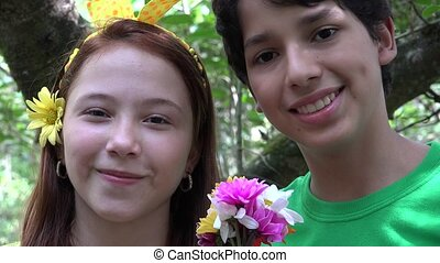 Teen Siblings or Friends in Forest