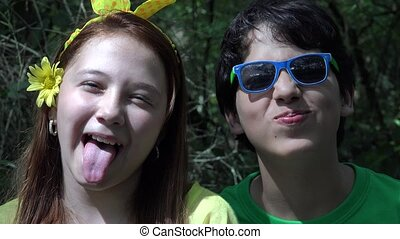 Teen Boy and Girl Acting Silly