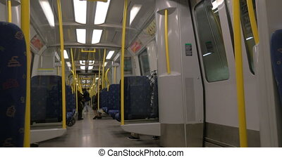 Carriage of Stockholm Subway - Shot of seats and aisle in...