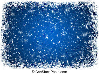 Blue Christmas background with white frost