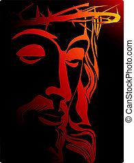 Jesus Christ with crown of thorns - Illustration of Jesus...