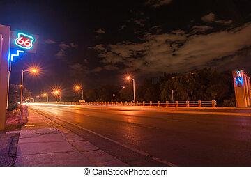 Route 66 neon sign, Albuquerque, New Mexico, USA