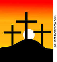 crosses in a hill in sunset - Illustration of crosses in a...