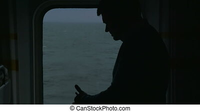 Adult Man With Phone On The Cruise Ship