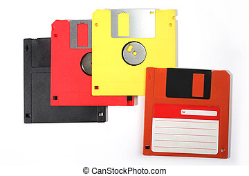 Floppy - several disks on a white background
