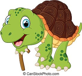 Illustration of elderly tortoise - vector illustratio9n of...