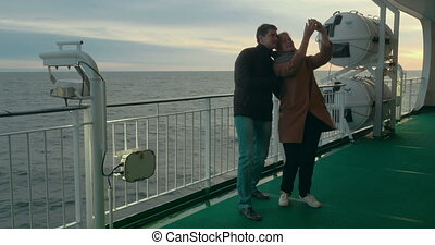 Happy Couple Taking Selfie on the Ferry Deck - Young happy...