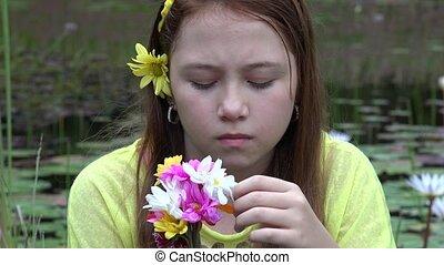 Sad Teenage Girl with Red Hair